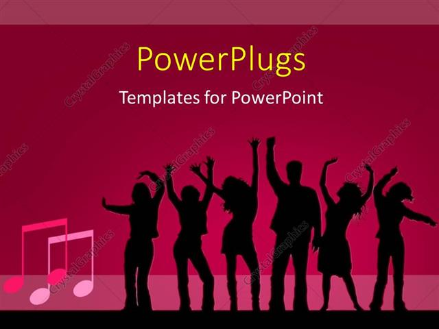 Powerpoint template silhouette of people dancing on pink background powerpoint template displaying silhouette of people dancing on pink background with music symbol toneelgroepblik Image collections