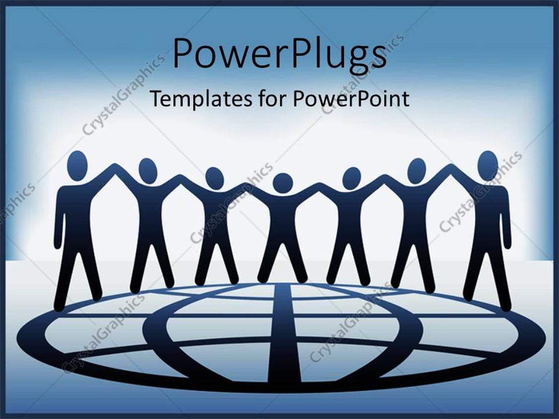 PowerPoint Template Displaying Silhouette of People Standing on Globe Pattern Hold Hands