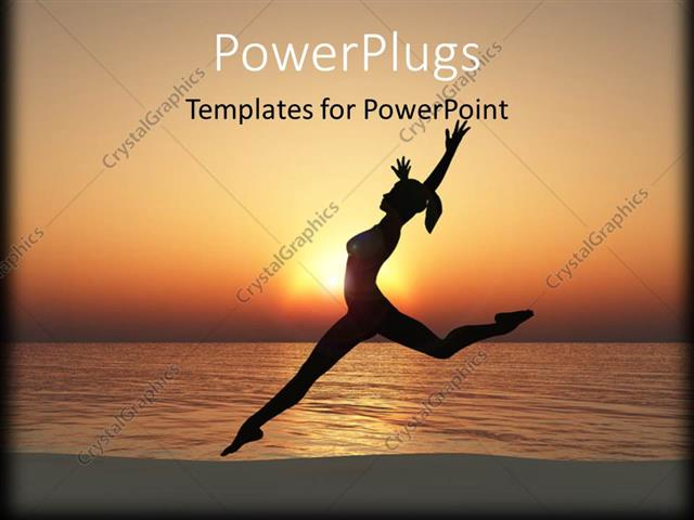 PowerPoint Template Displaying Silhouette of Young Woman in Acrobatic Jump at Sea Shore
