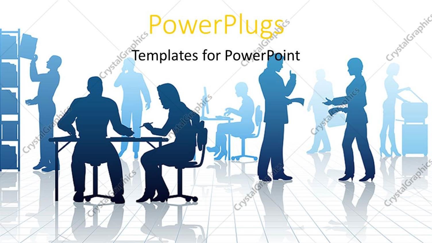Powerpoint template silhouettes of business people in a busy powerpoint template displaying silhouettes of business people in a busy office with reflections alramifo Image collections