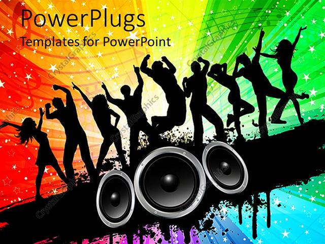 Powerpoint template silhouettes of people dancing on a starry multi powerpoint template displaying silhouettes of people dancing on a starry multi colored background with toneelgroepblik Image collections