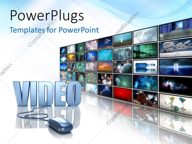 Powerpoint Template Silver Mouse Plugged Into Video Next To Wall Of