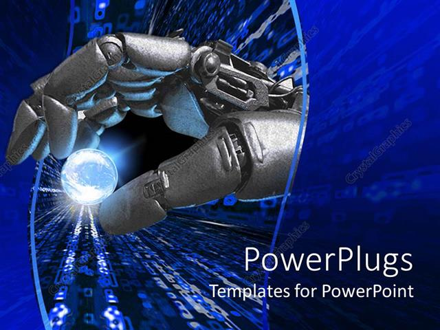 Powerpoint template silver robot hand holding a glowing earth powerpoint template displaying silver robot hand holding a glowing earth planet representation between toneelgroepblik Images