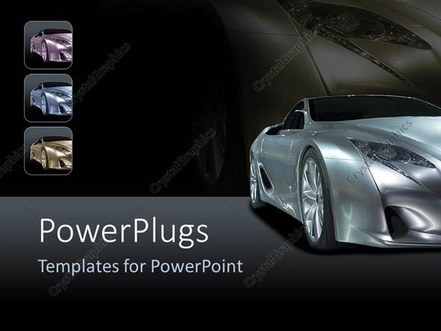 Powerpoint template silver sport car on background with shades of powerpoint template displaying silver sport car on background with shades of black toneelgroepblik Images