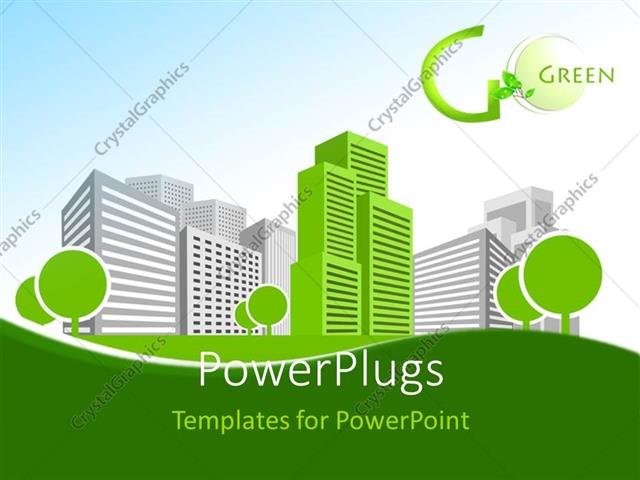 Powerpoint Template Single Green Building Shines Among Many Grey