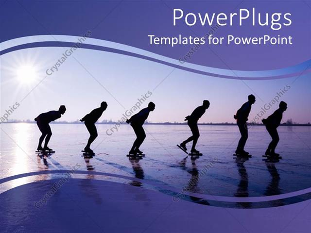 powerpoint template six men ice skating at dawn in purple
