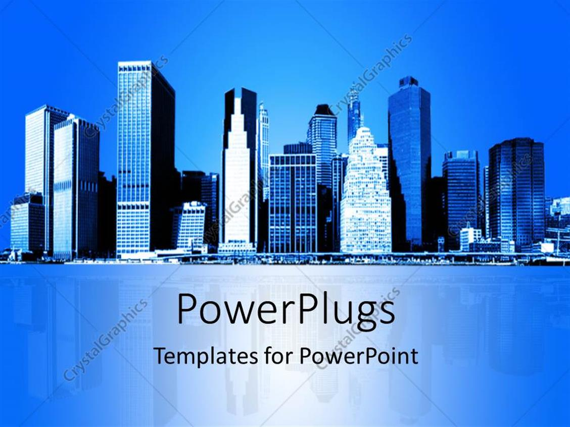 PowerPoint Template Displaying Skyline of New York City with Reflection in Background