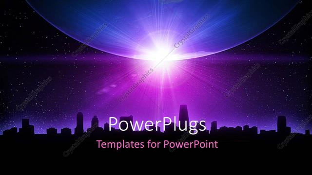 PowerPoint Template Displaying Skyline and Planet Earth with Sunrise