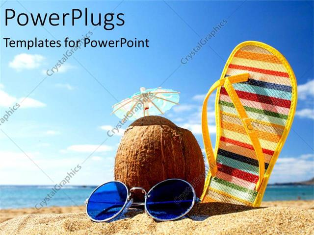 Powerpoint template a sleeper along with a coconut and sunglasses powerpoint template displaying a sleeper along with a coconut and sunglasses on a beach toneelgroepblik Gallery