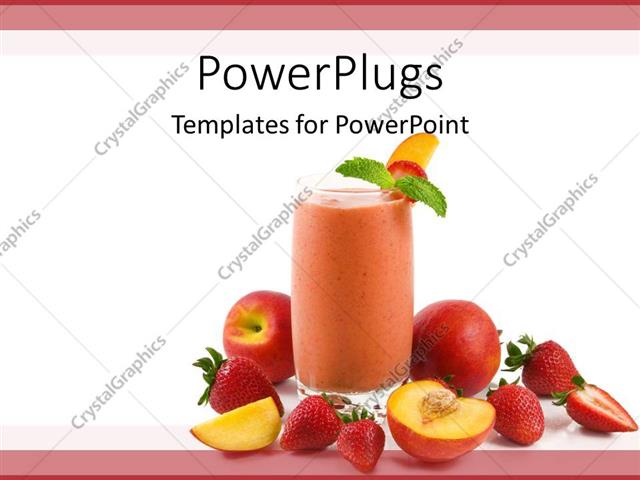 powerpoint template sliced apples and strawberry beside glass of