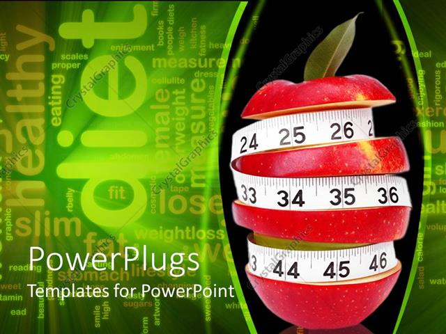 PowerPoint Template Displaying Sliced Up Red Apple with a Measuring Tape Surrounding it