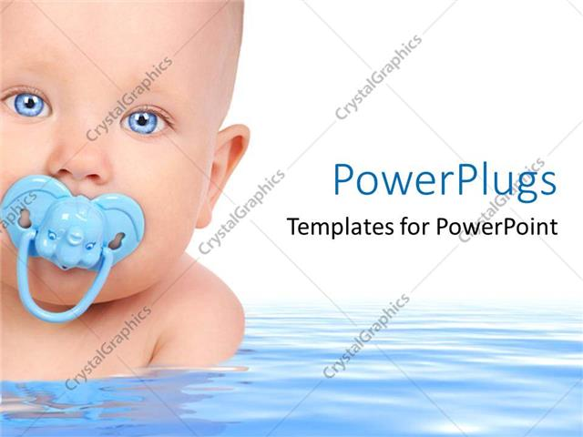 powerpoint template small baby face with elephant pacifier in mouth