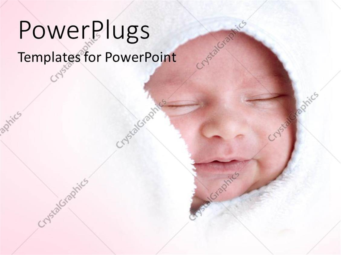 PowerPoint Template Displaying a small Baby Smiling and Wrapped with a White Blanket