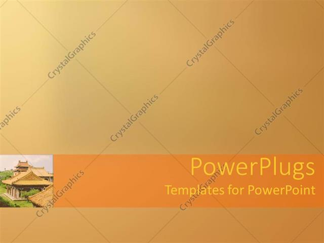 Powerpoint Template Small Depiction Of Oriental Temple Building On
