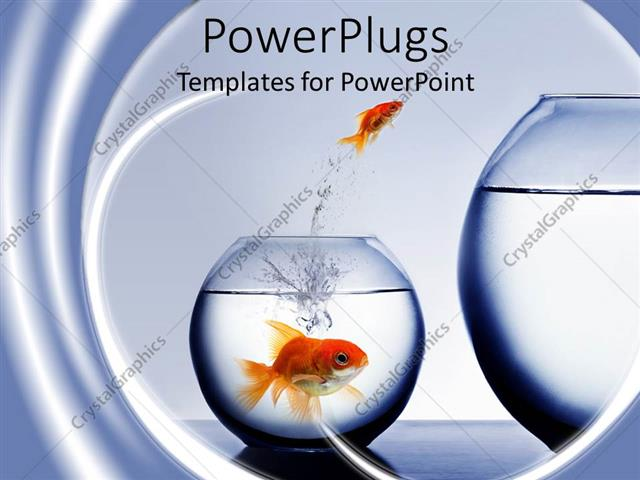 PowerPoint Template Displaying small Goldfish Jumping Out of smaller Fishbowl to larger One and large Goldfish Watching from smaller Fishbowl