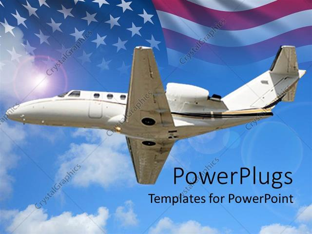 Powerpoint template small private jet flying with us flag in powerpoint template displaying small private jet flying with us flag in background toneelgroepblik Gallery