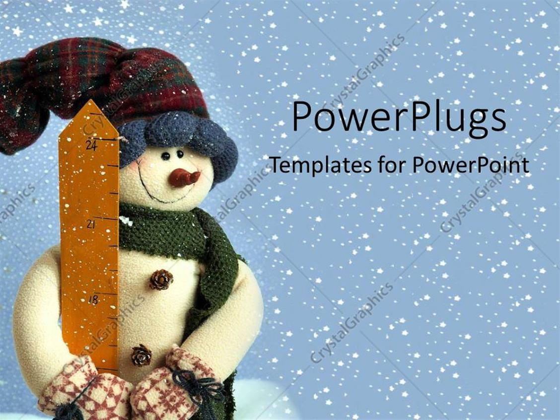 PowerPoint Template Displaying small Snowman in Snow Holidays Christmas Decorations