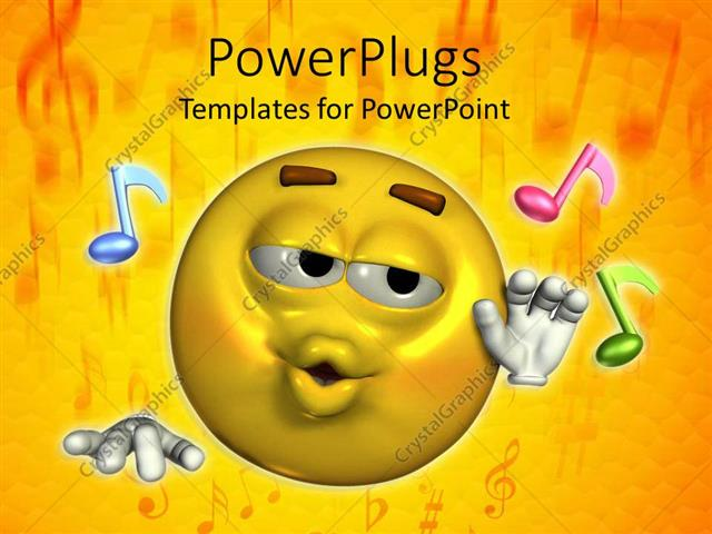Powerpoint template a smiley along with various music figures and powerpoint template displaying a smiley along with various music figures and yellow background toneelgroepblik Images