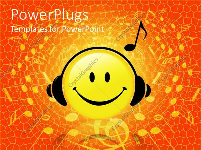 powerpoint template smiley face wearing headphones listening to