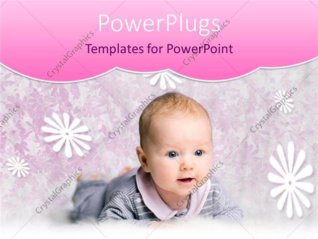 PowerPoint Template Displaying Smiling Baby in Gray and Pink Outfit with Floral Background