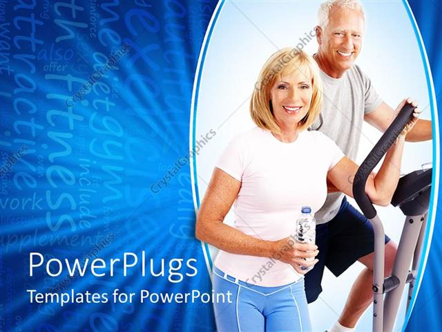 Powerpoint template smiling elderly couple working out in gym on powerpoint template displaying smiling elderly couple working out in gym on blue background toneelgroepblik Image collections