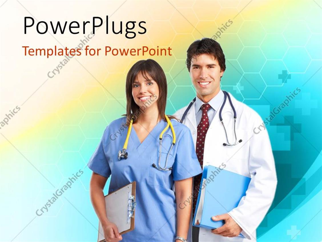 PowerPoint Template Displaying Smiling Medical Doctor and Nurse with Stethoscope across Neck