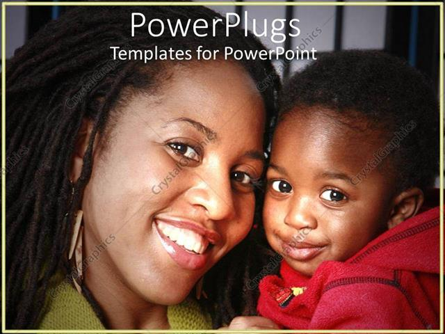 PowerPoint Template Displaying Smiling Mother in Green Blouse Holding Happy Child Wearing Red Jacket