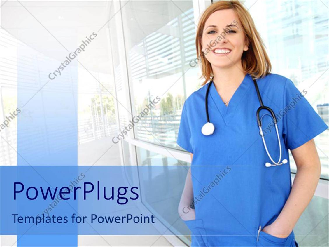 Powerpoint template smiling nurse in hospital setting young nurse powerpoint template displaying smiling nurse in hospital setting young nurse with stethoscope alramifo Gallery
