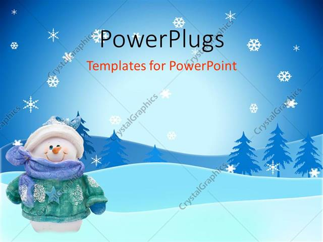 Powerpoint Template Smiling Snowman In Coat Hat Scarf Mittens On