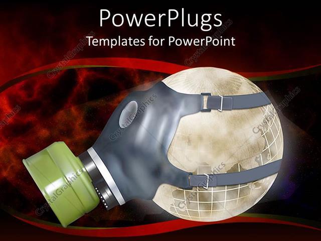 PowerPoint Template: smokey globe wearing gas mask depicting ...