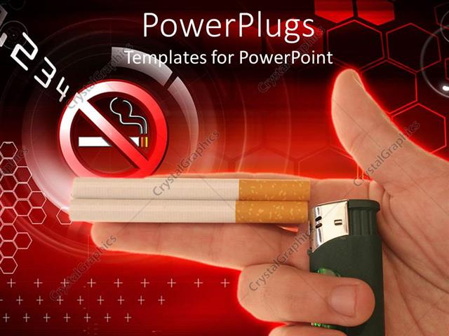 Powerpoint Template No Smoking Sign Two Cigarettes And Lighter In