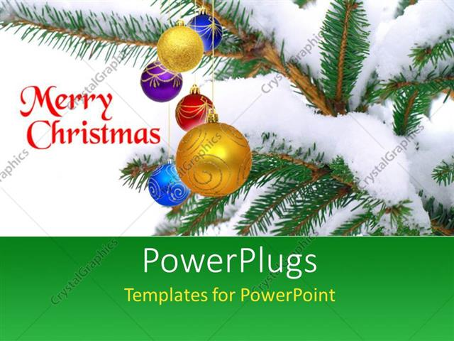 Powerpoint Template A Snow Covered Christmas Tree And Texts That