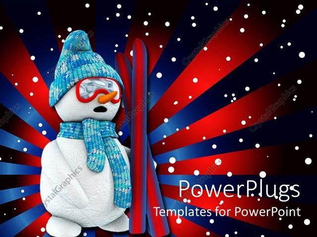 PowerPoint Template Displaying a Snowman with Red and Blue Lines in the Background