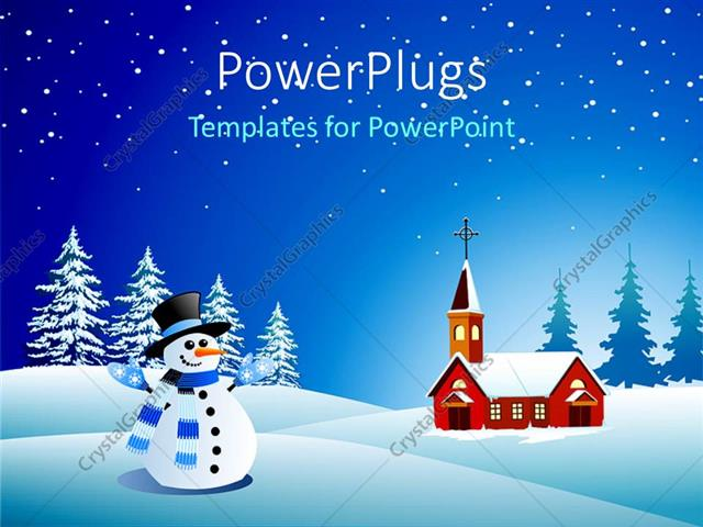 PowerPoint Template Displaying Snowman Wearing Blue and White Scarf, Black Hat Next to small Church Building