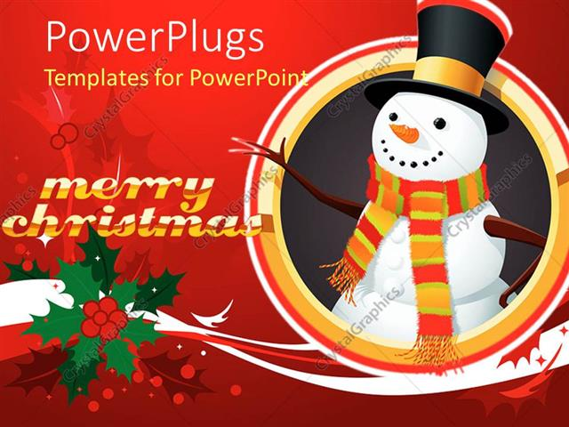 PowerPoint Template Displaying Snowman Wearing Colorful Striped Scarf and Black Top Hat with Gold Band on Holiday Background