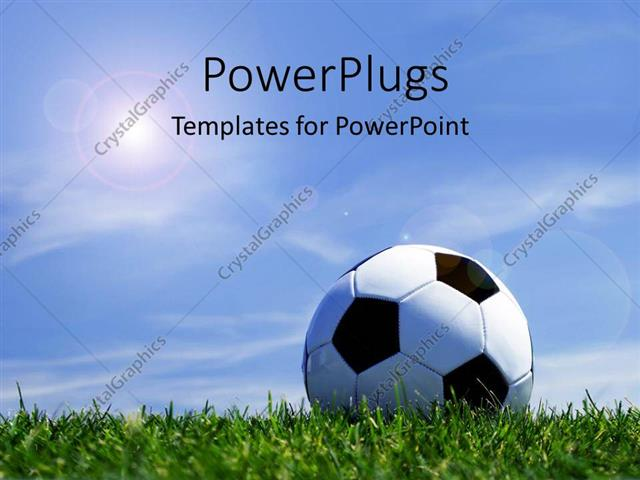Powerpoint Template Soccer Ball On Grass Depicting Sports Concept