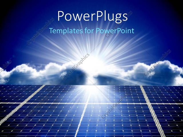 Powerpoint Template Solar Energy Panels With Beautiful Sky In The