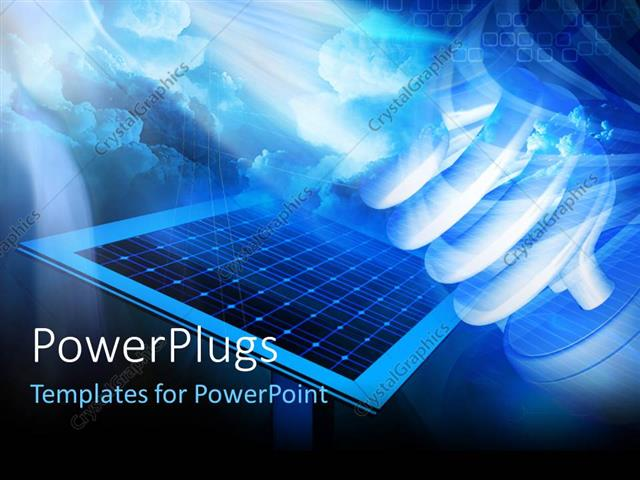 Powerpoint Template Solar Panel On A Hi Tech Background With Led