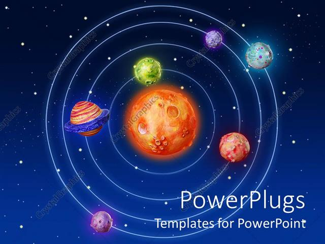 powerpoint template solar system with sun in the center and six