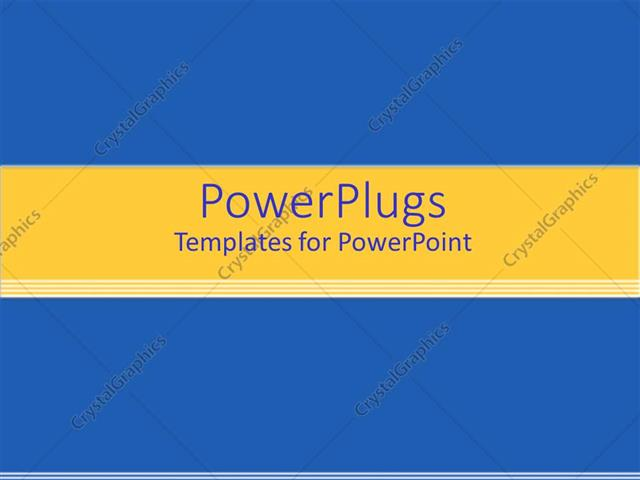 Powerpoint Template Solid Blue Background With Yellow Banner And