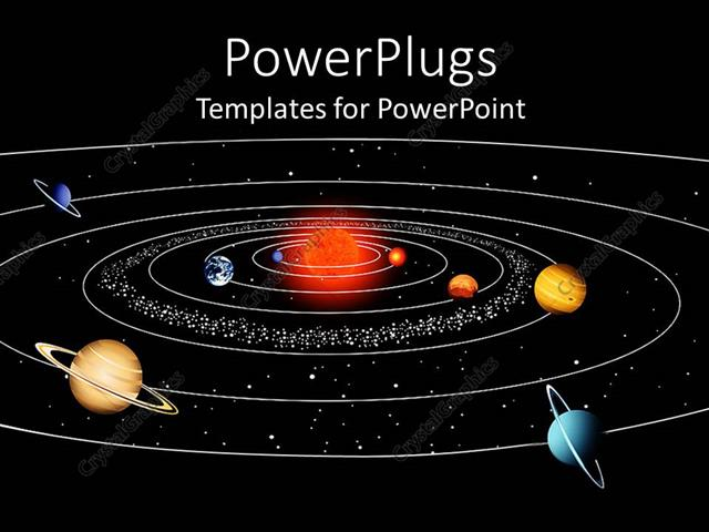 powerpoint template a space view of the sun and planets of their