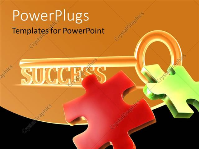 PowerPoint Template Displaying Sparkling Success Key with Colored Jigsaw Puzzle Pieces on Orange Background