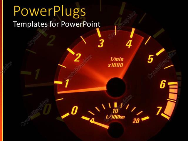 Powerpoint Template A Speedometer With Various Colors And Its