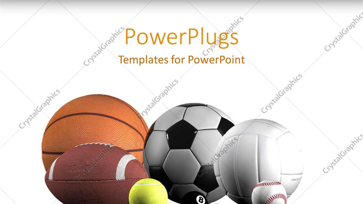 PowerPoint Template Displaying Sports Balls Lined Up White Background