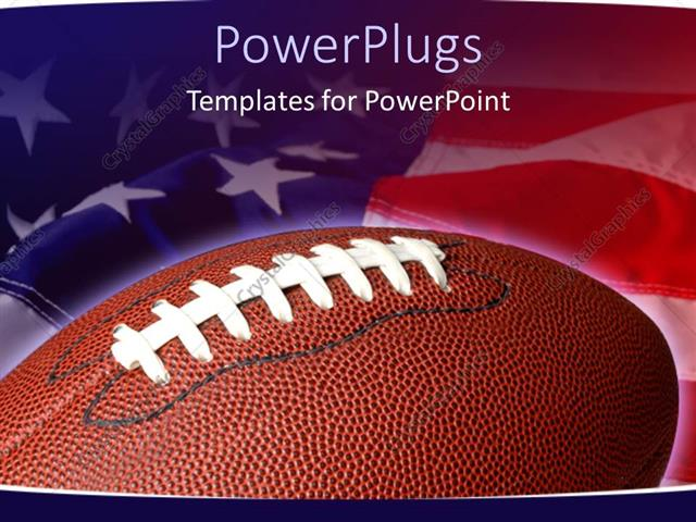 Powerpoint Template Sports Theme With Football On Waving American