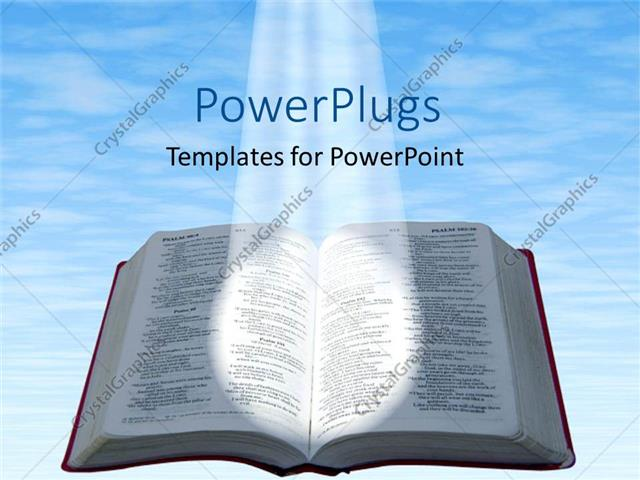 Powerpoint Template Spotlight Glowing On Open Bible With Blue