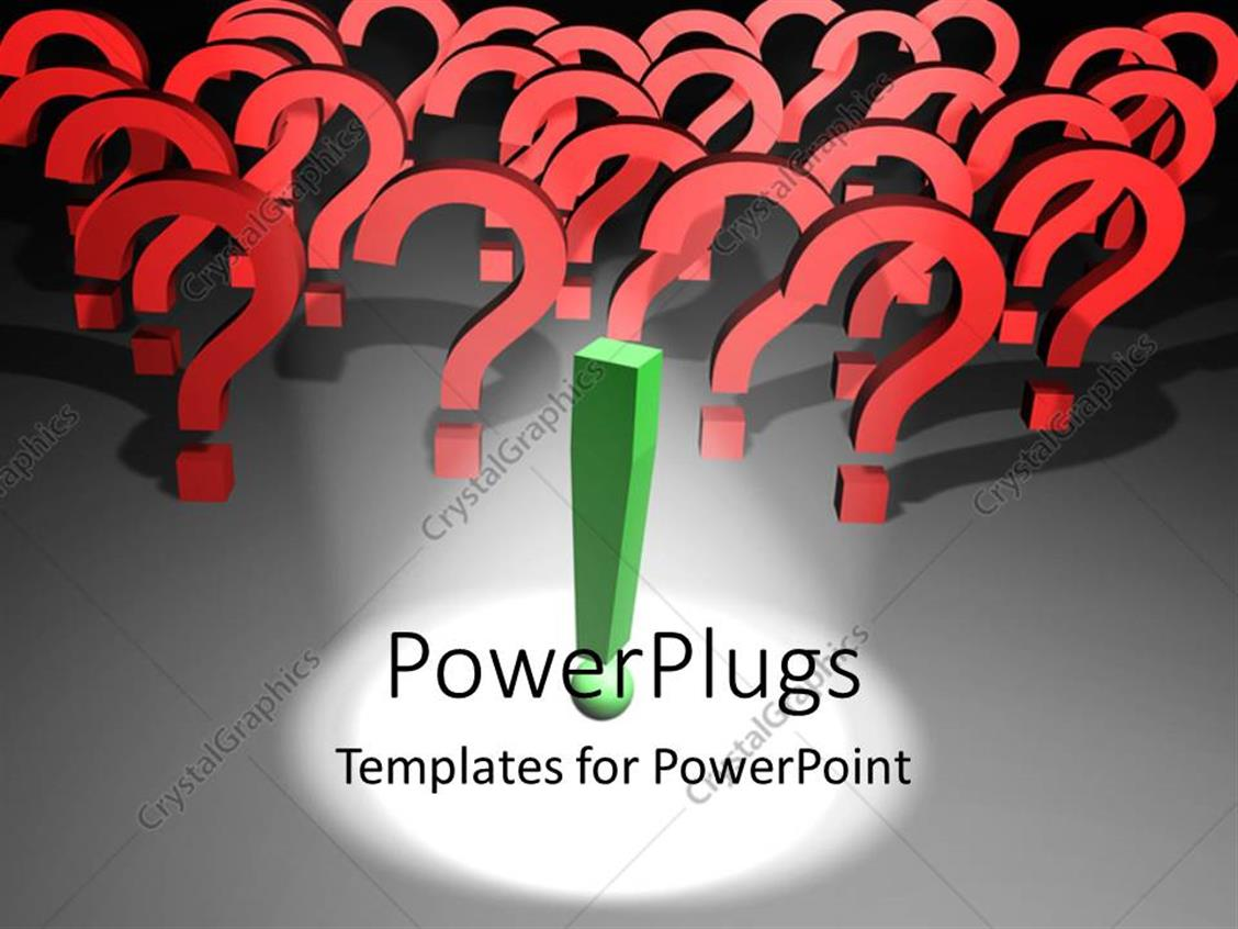 PowerPoint Template: Spotlight on green exclamation mark with ...