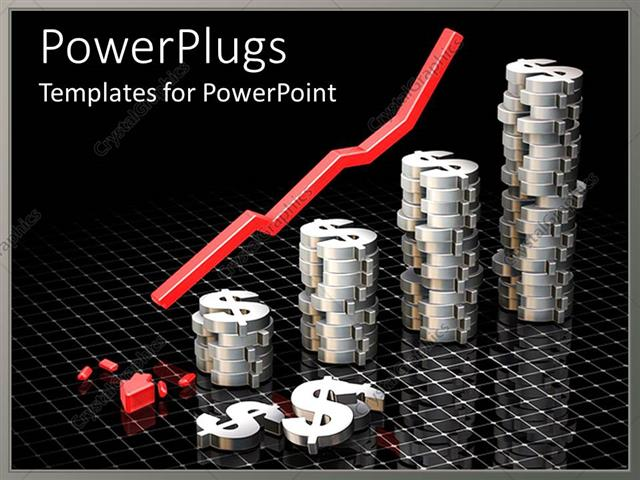 PowerPoint Template Displaying Stack of Dollar Signs with Broken Red Arrow O Reflective Checkered Surface