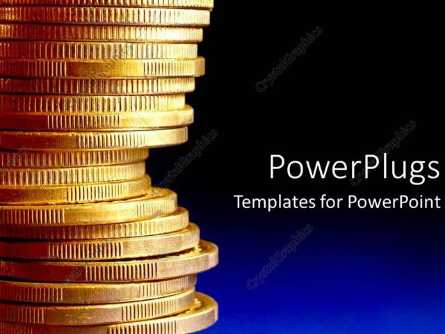 powerpoint template stack of gold coins over blue background 14591. Black Bedroom Furniture Sets. Home Design Ideas