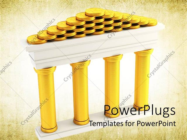 Powerpoint template stacks of golden coins forming the symbol of powerpoint template displaying stacks of golden coins forming the symbol of bank on old paper background toneelgroepblik Gallery